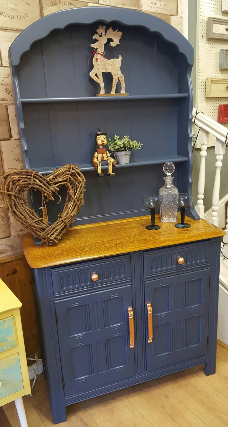 Ercol Elm Dresser Farrow Ball Stiffkey Blue Copper