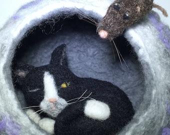 "Nap Interrupted"" felted black cat wool sculpture"