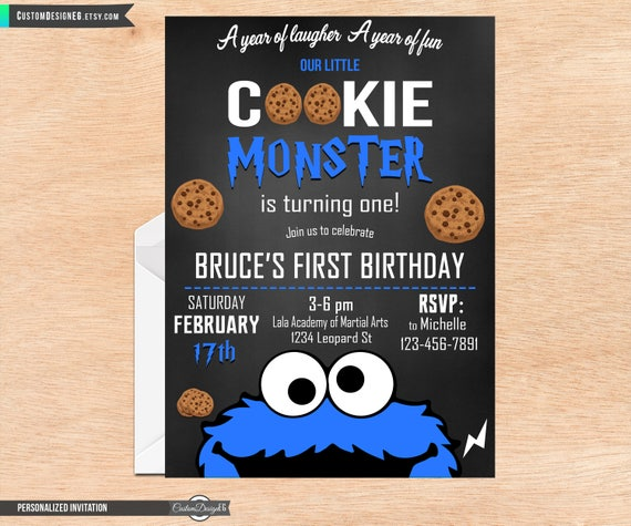 Cookie Monster Urodziny Zaproszenie Cookie Monster Party Etsy
