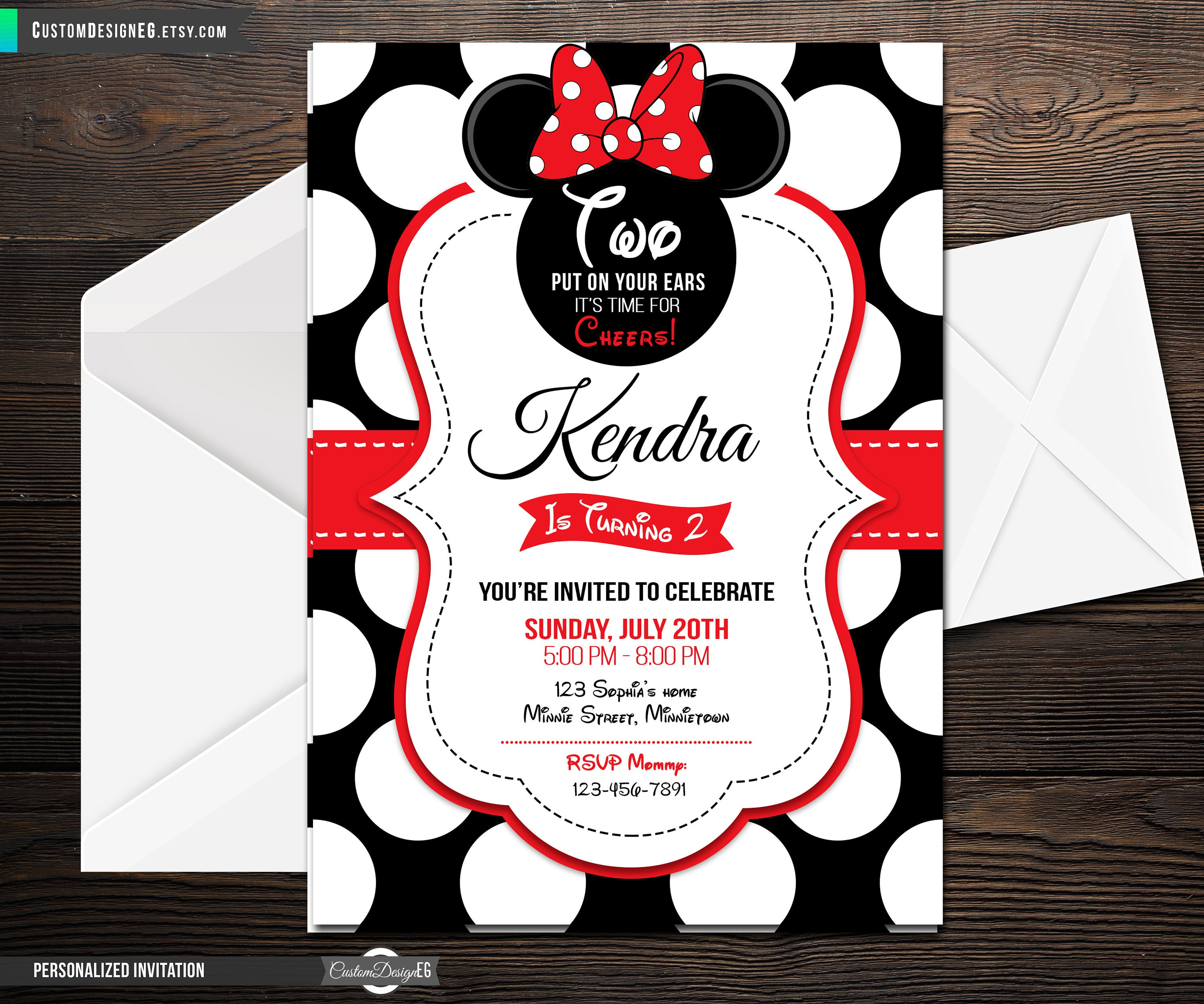 Red and Black Minnie Mouse Invitation Minnie Mouse Birthday | Etsy