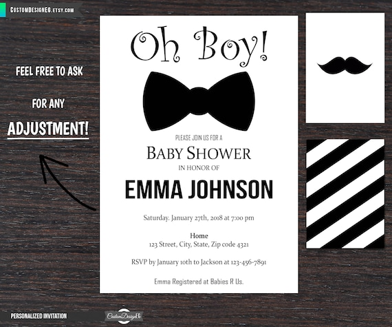 Bow tie baby shower invitations little man baby shower etsy image 0 filmwisefo