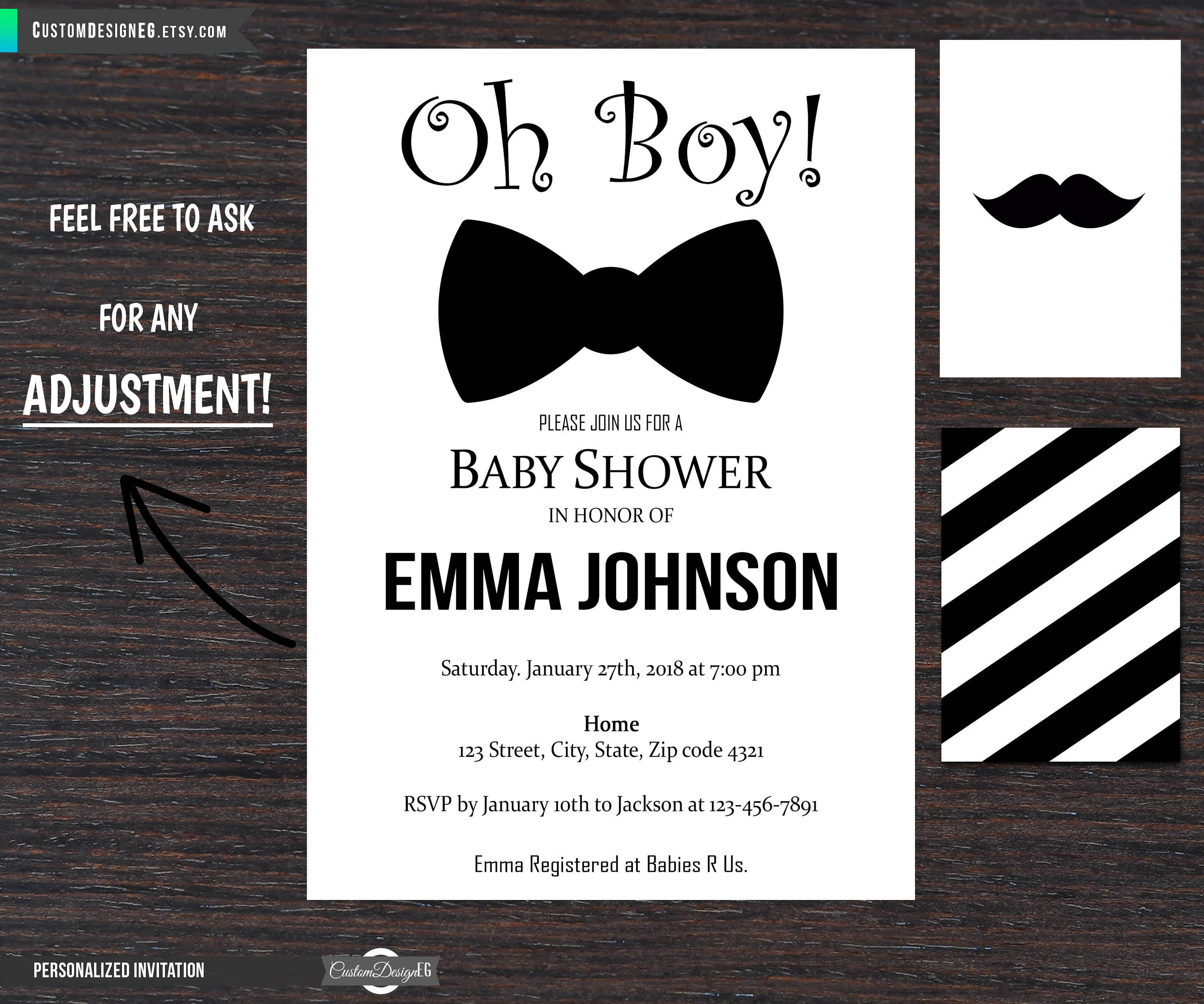 Bow tie baby shower invitations Little Man baby shower   Etsy