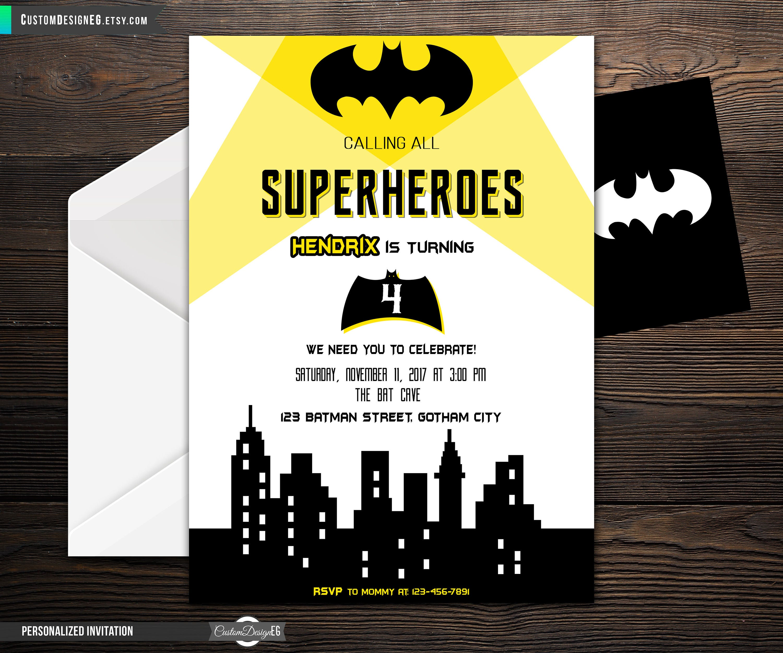 Batman Birthday Invitation Superhero Party Superhero | Etsy