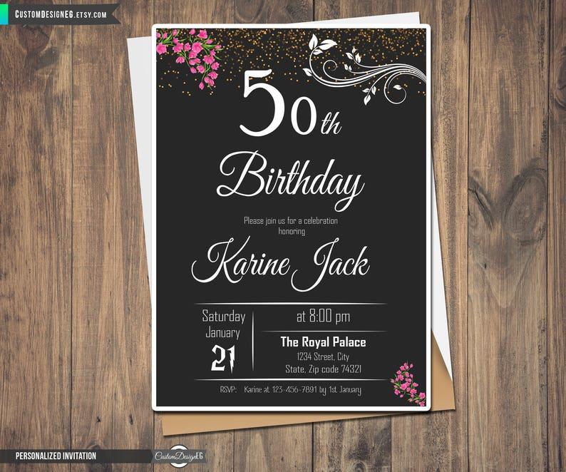 Happy 50th Birthday Fiftieth Invites Fifty Years