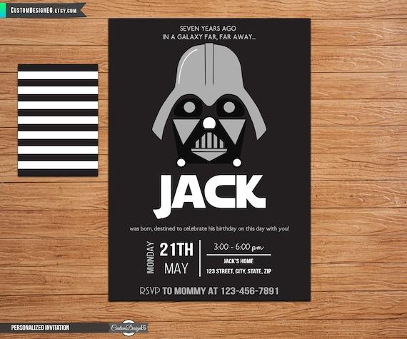 Darth Vader Birthday Star Wars Birthday Invitation Darth Etsy