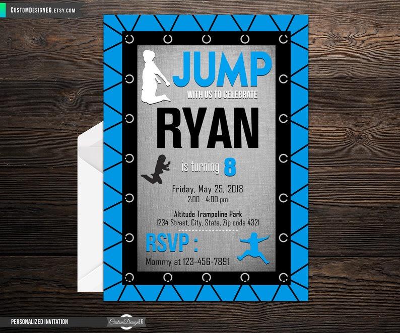 Jump Birthday Party Invitation Trampoline Park Bounce House