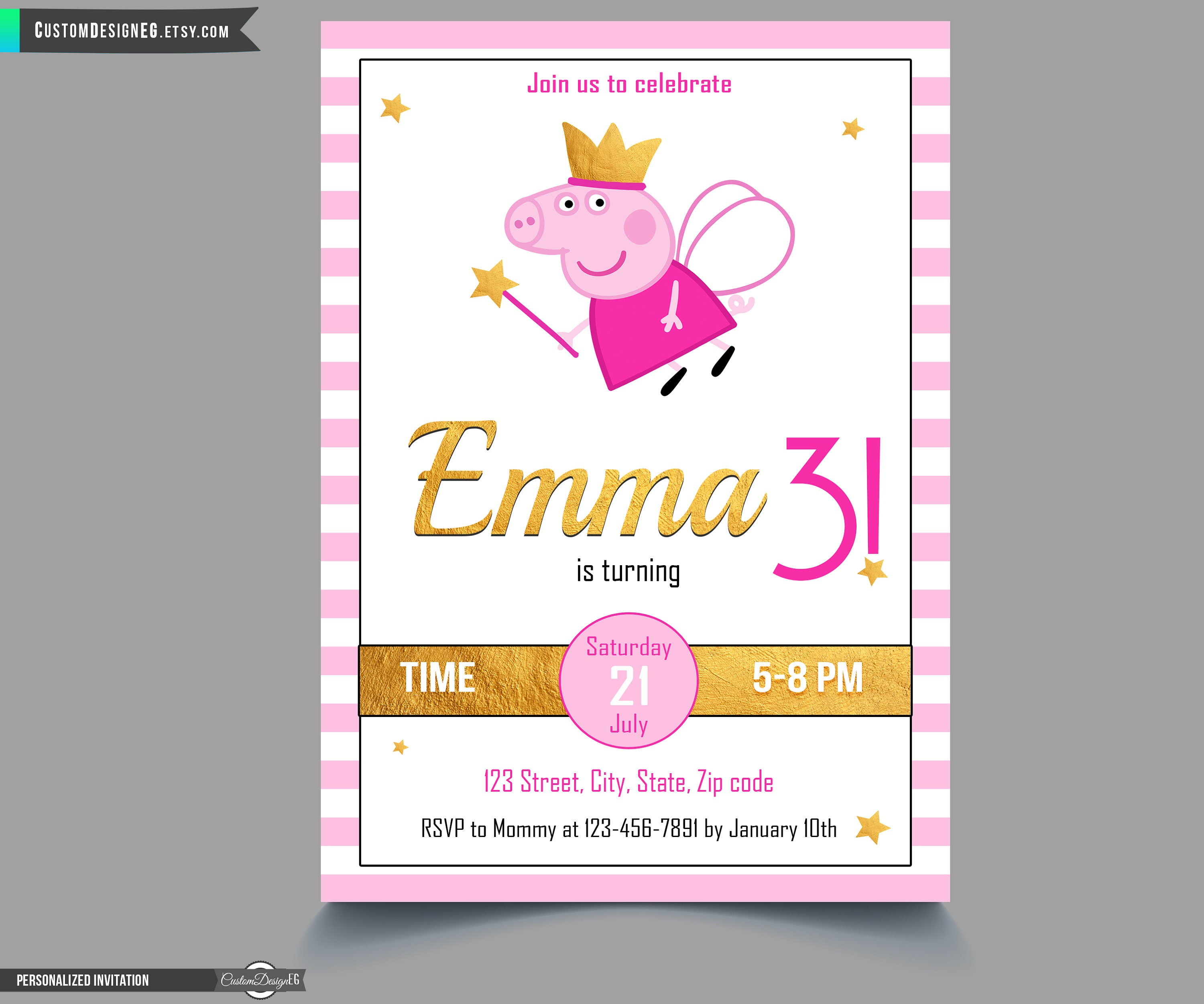 Peppa Pig Invitation Peppa Pig Birthday Invitation Peppa | Etsy