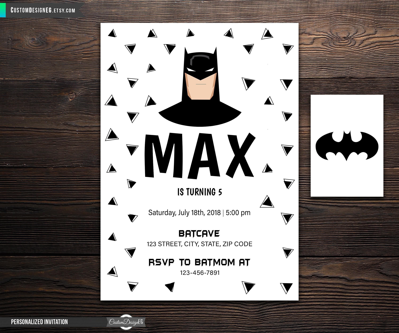 Batman Birthday Batman Invitation Batman Card Batboy | Etsy