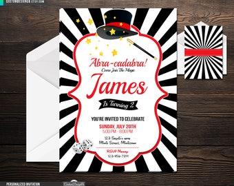 Magic Party Invitation, Magic Birthday Invitation,  Magic Invitation, Magician Boy Invitation,  Magic Show Invitation, Magic Invite