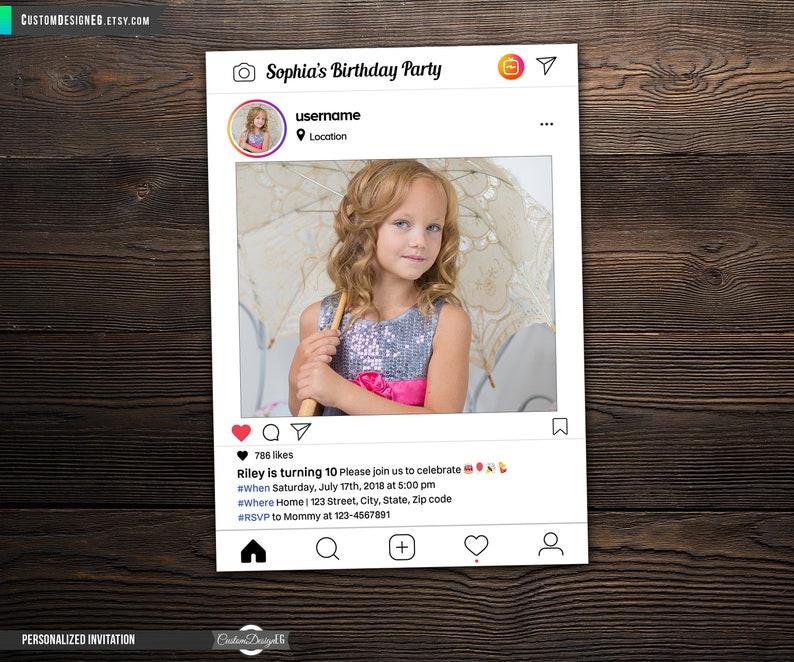 Instagram Birthday Invitations Instagram Invitation Etsy