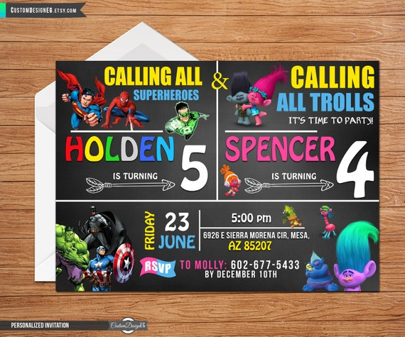 joint birthday party invitation dual party double party etsy