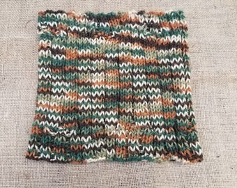 Handmade Cowl Camo Green Orange White  Neck Warmer Knitted  Camo Scarf Hand Knit Christmas Gift