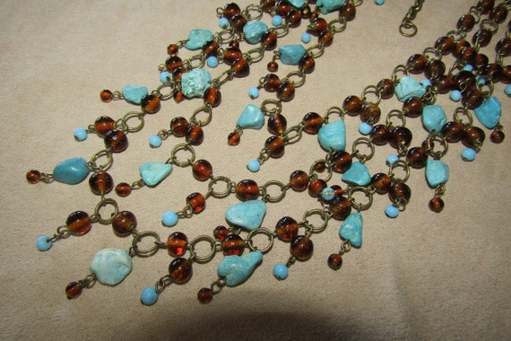 Vtg glass bead turquoise multi layer necklace