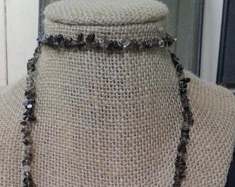 "NEW Smoky Quartz Healing Crystal Small Chip Polished Gemstone Bead Necklace, 34"""