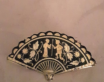 Vintage DAMASCENE Fan Brooch - Gold Tones - Black Background - Chinese Couple Courting - 1970s - Wedding/Bridal/Anniversary/Birthday
