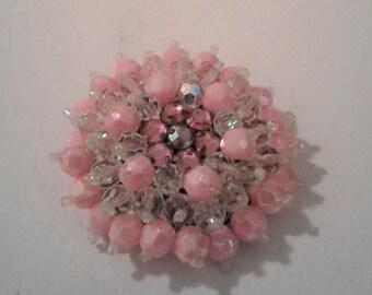 Pale Pink Beaded West German Brooch Iridescent Pink Beaded Brooch Floofy Pink Beaded Pin,