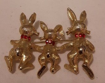 Vintage MAMSELLE Gold Tone and Red Rhinestone Bunnies Brooch - Rare Collectible Brooch - Cute Bunny Brooch - 1960's - Gift For Her