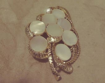 Antique/Vintage Mother of Pearl Brooch (MOP) - Gold Tone - Figural Mother of Pearl - Leaf/Flower Design - 1940s-Wedding/Anniversary/Birthday