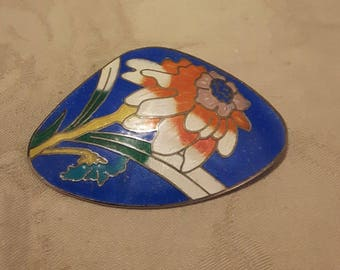Vintage Enamel Cloisonne Flower Brooch - Abstract Shape - Blue Background w/Orange Cream & Green Enamel - 1960s - Birthday/Anniversary