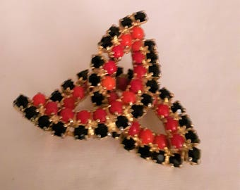 VINTAGE Black Rhinestones and Red Seed Beads Brooch - Abstract Shape Brooch - Gold Tone - Art Deco - 1970s - Birthday/Mothers Day