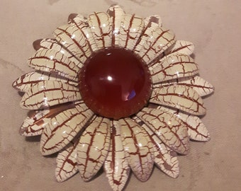 Vintage Large Enamel Flower Brooch - Red/Brown and Cream Color - Boho Style - Birthday/Anniversary/Wedding - 1960s