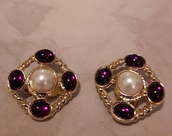 Vintage Gold Tone Purple Lucite Beads & Faux Pearls Earrings - Square Earrings - Clip-on - 1980s - Wedding/Birthday/Anniversary/Mother's Day