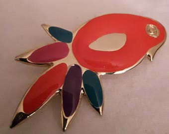Vintage Colorful Parrot Brooch - Gold Tones and Peaches, greens and purples - Abstract Shape Brooch-1980s-Birthday/Anniversary/Gift For Her