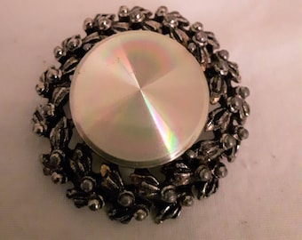Vintage MARALETTE? Silver Tone with Silver Disk Brooch - 1960s - Wedding/Anniversary/Birthday/Mother's Day