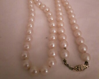 Vintage Faux Cream Pearl Necklace - Statement Necklace - Knotted Pearls - 1950s - Wedding/Bridal/Anniversary/Birthday/Mother's Day