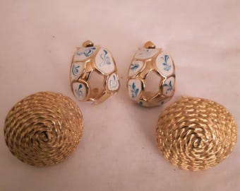 Vintage Adrien Mann - Gold with White Enamel and Blue Swirls/Bonus Gold Earrings unsigned - Clip on/Wedding/Birthday/Mother's Day