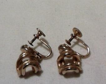 4141a652f Vintage Antique Signed Alice Gold Tone Dangle Screw-Back Earrings / 50's  Designer Earrings / Rare Earrings