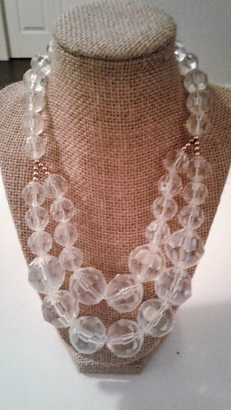 19 Chunky Clear And Brass Gold Tone Metal Bead Necklace 90s Double Strand