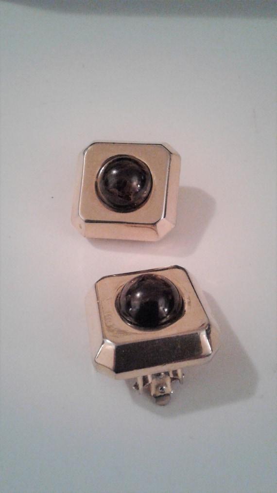 Lanvin Paris, Gold Tone, Square Clip On Earrings,… - image 2