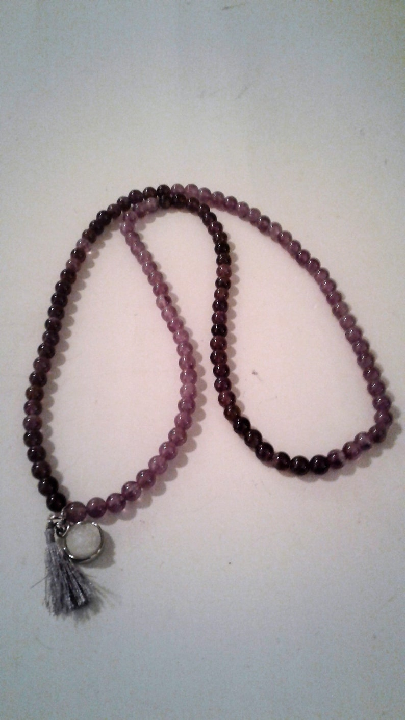 25 Purple Amethyst Bead With Tassel Necklace