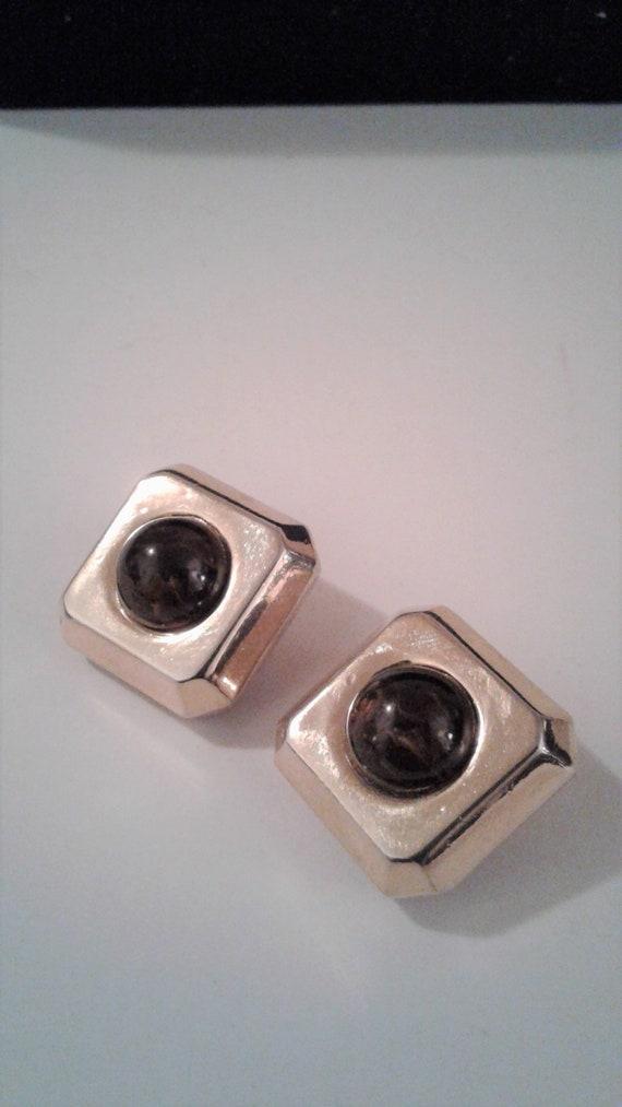 Lanvin Paris, Gold Tone, Square Clip On Earrings,… - image 3