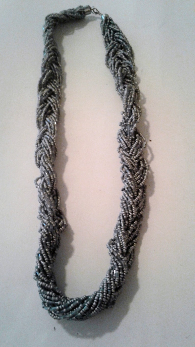 Braided Grey and Silver Glass Seed Bead Multistrand Vintage Necklace 30