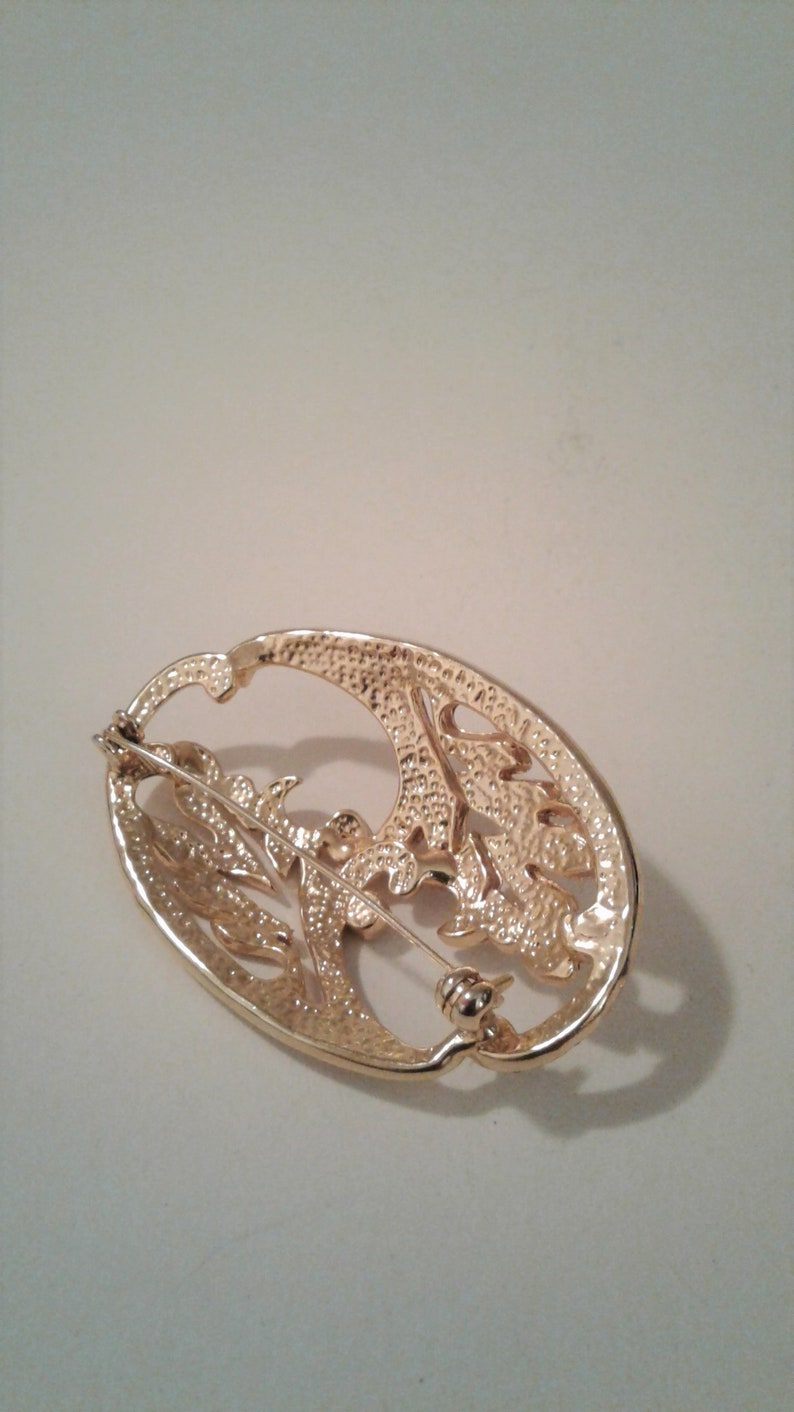 Open Work Brooch Vintage Gold Tone With Clear Rhinestones