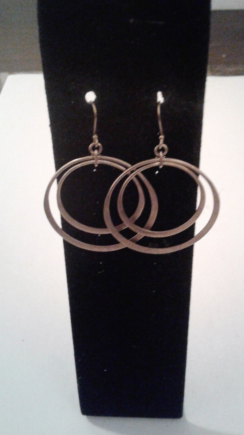 925 BR Sterling Silver Washed Gold Vintage Double Hoop Dangle Earrings