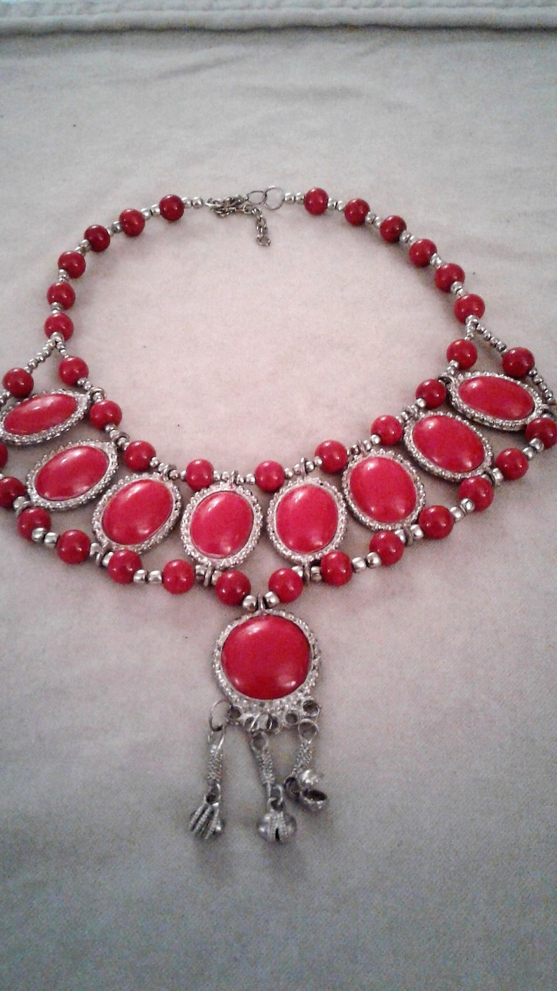 Tribal Chic Silver Tone Metal With Red Beads Statement Necklace  Ethnic Necklace  15-17