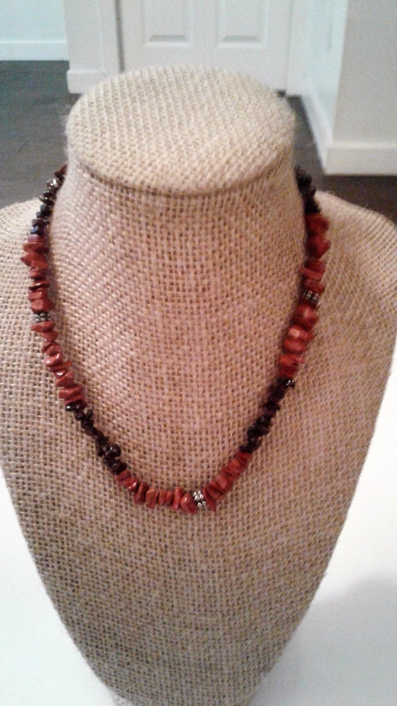 seed beads choker necklace sterling silver garnet cabochon quartz pendant 15 vintage