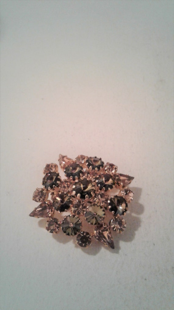 Topaz And Amber AB Crystal Rhinestone Brooch, Gold