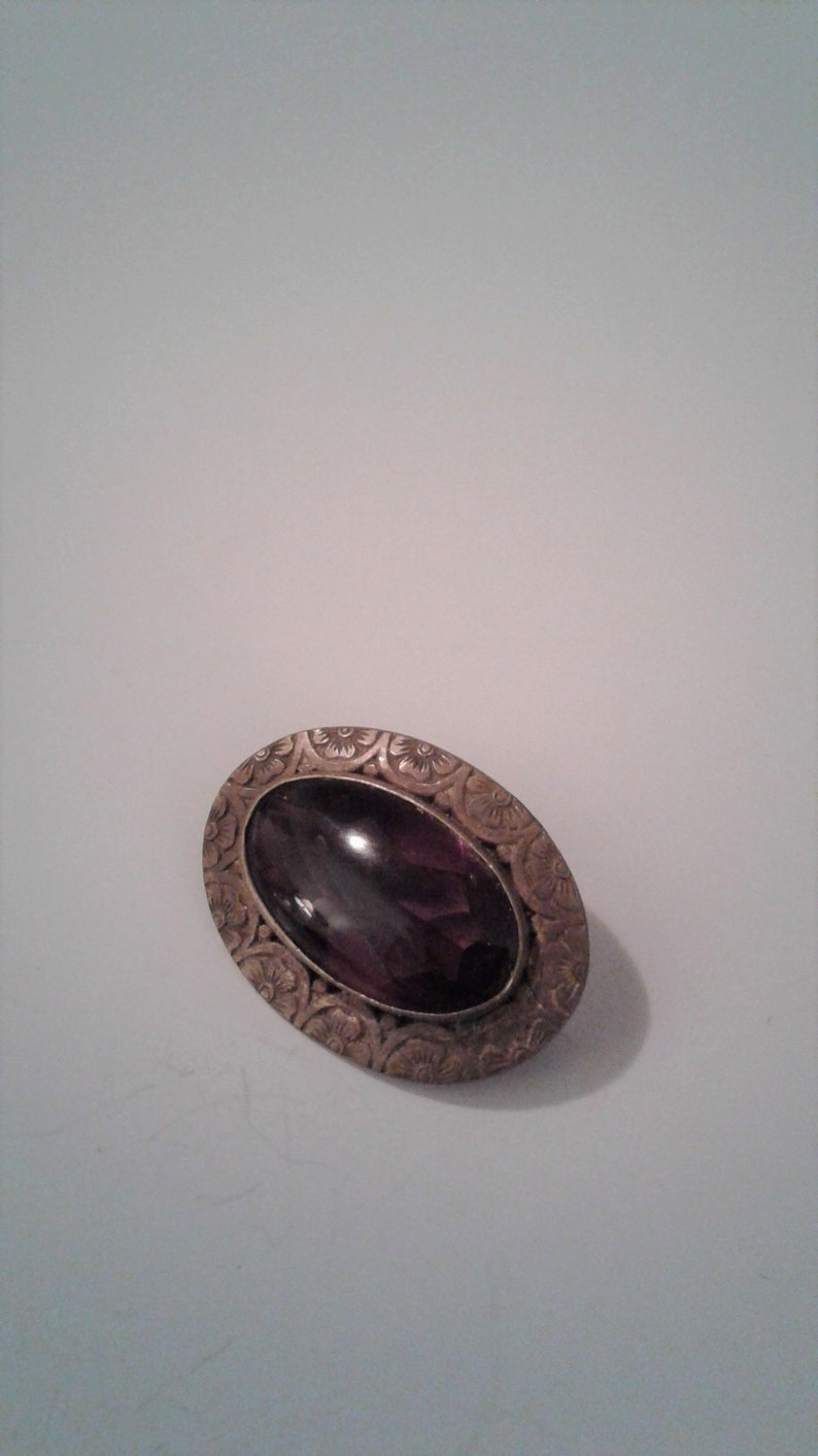 Antique Vintage Floral Ornate Brass And Amethyst Glass Brooch C Clasp Pin