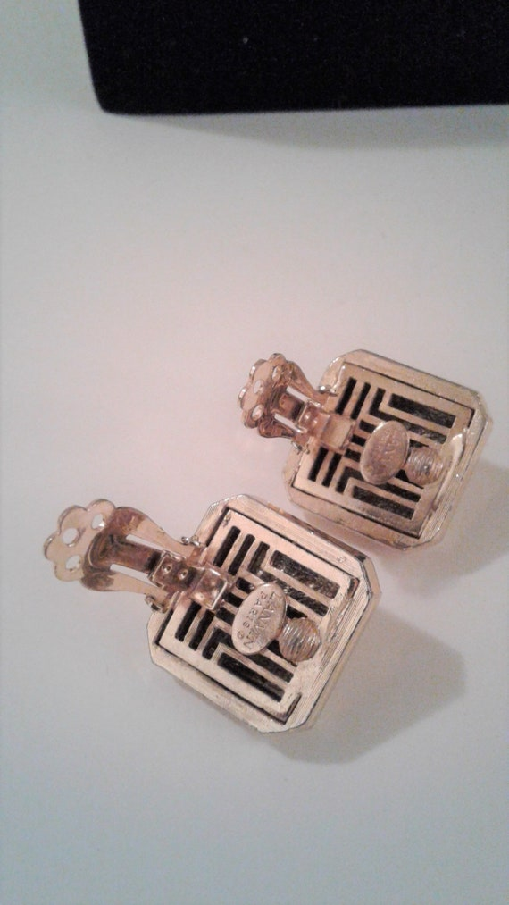 Lanvin Paris, Gold Tone, Square Clip On Earrings,… - image 4