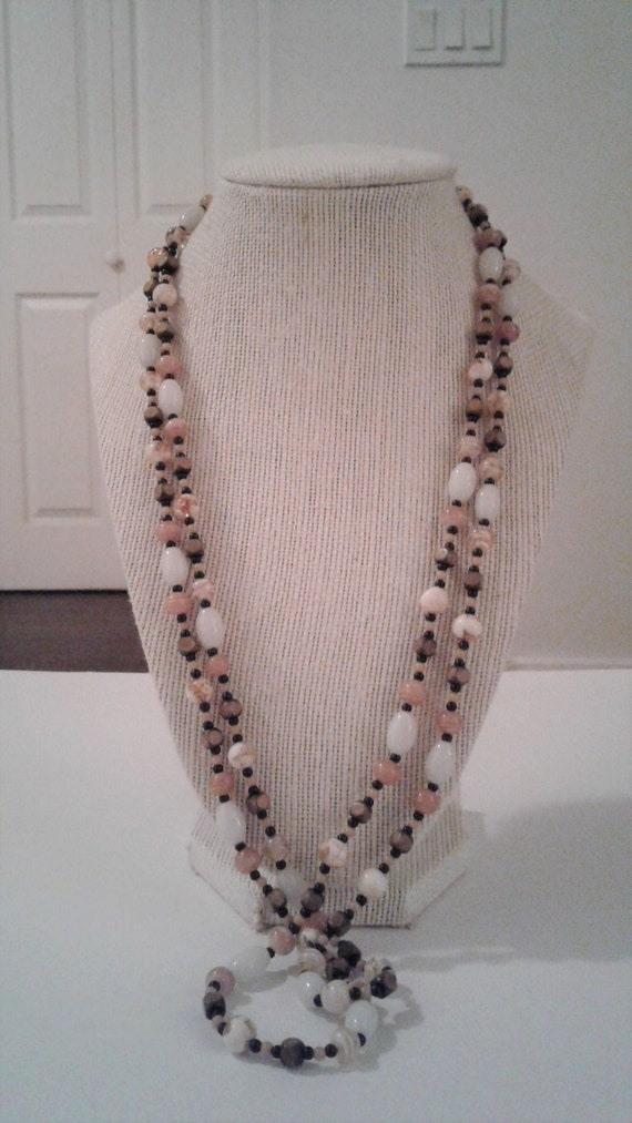 Vintage Unique Long Faux Wood Bead Necklace