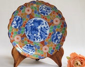 Vintage Japanese Imari Ware Plate 7.5 quot Plate Early 20th Century Mark Scalloped Edge Trimmed in Gold Gilt