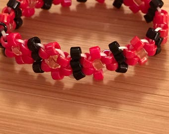 Bright Red and Black Beaded Ring