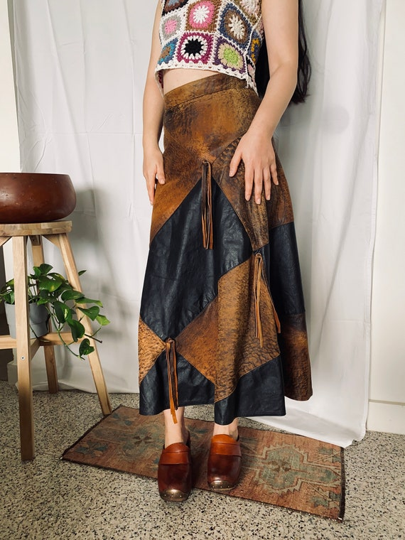 70s Leather Patchwork Skirt