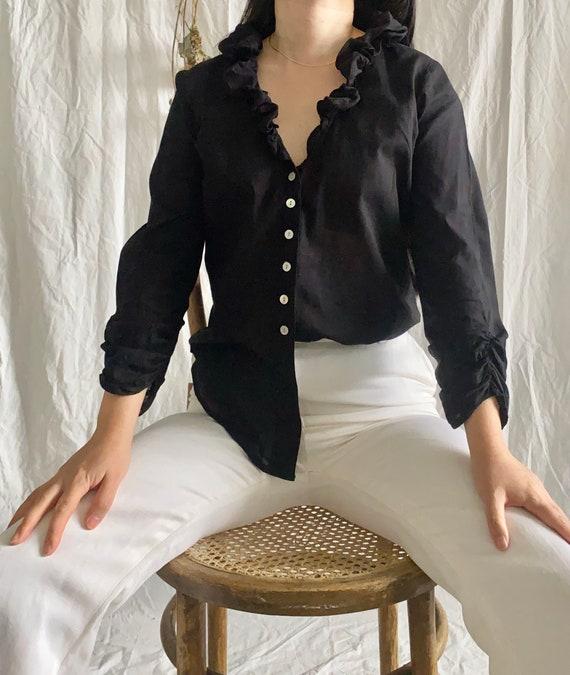 Black cotton button down ruffle blouse