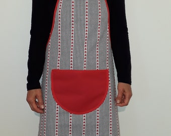 Black and white women cotton apron with red hearts