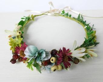 Rustic halo Bridal hair piece Summer wedding crown Woodland bridal halo Forest hair crown Bridal leaf crown Wedding hair piece Forest nymph